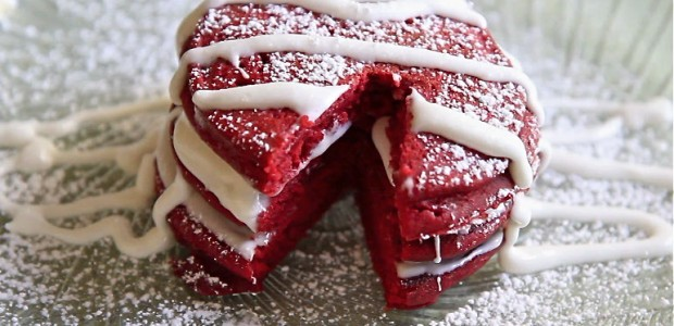Red Velvet Pancakes w/ Cream Cheese Glaze