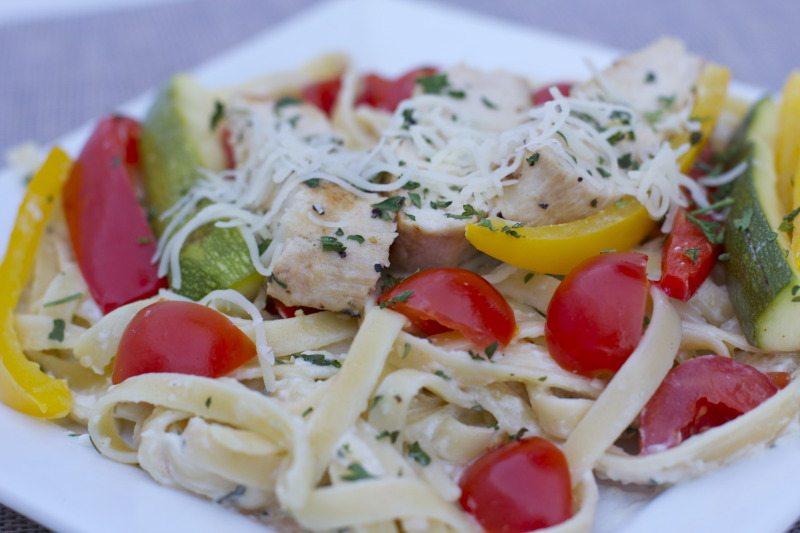 Chicken Vegetable Fettuccine Alfredo Recipe
