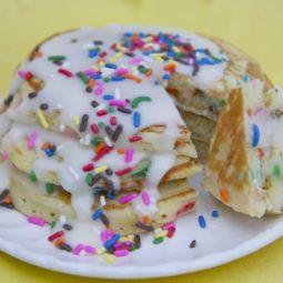 birthday cake batter pancakes recipe butter cream glaze