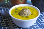 Roasted Butternut Squash Soup w/ Chicken Meatballs