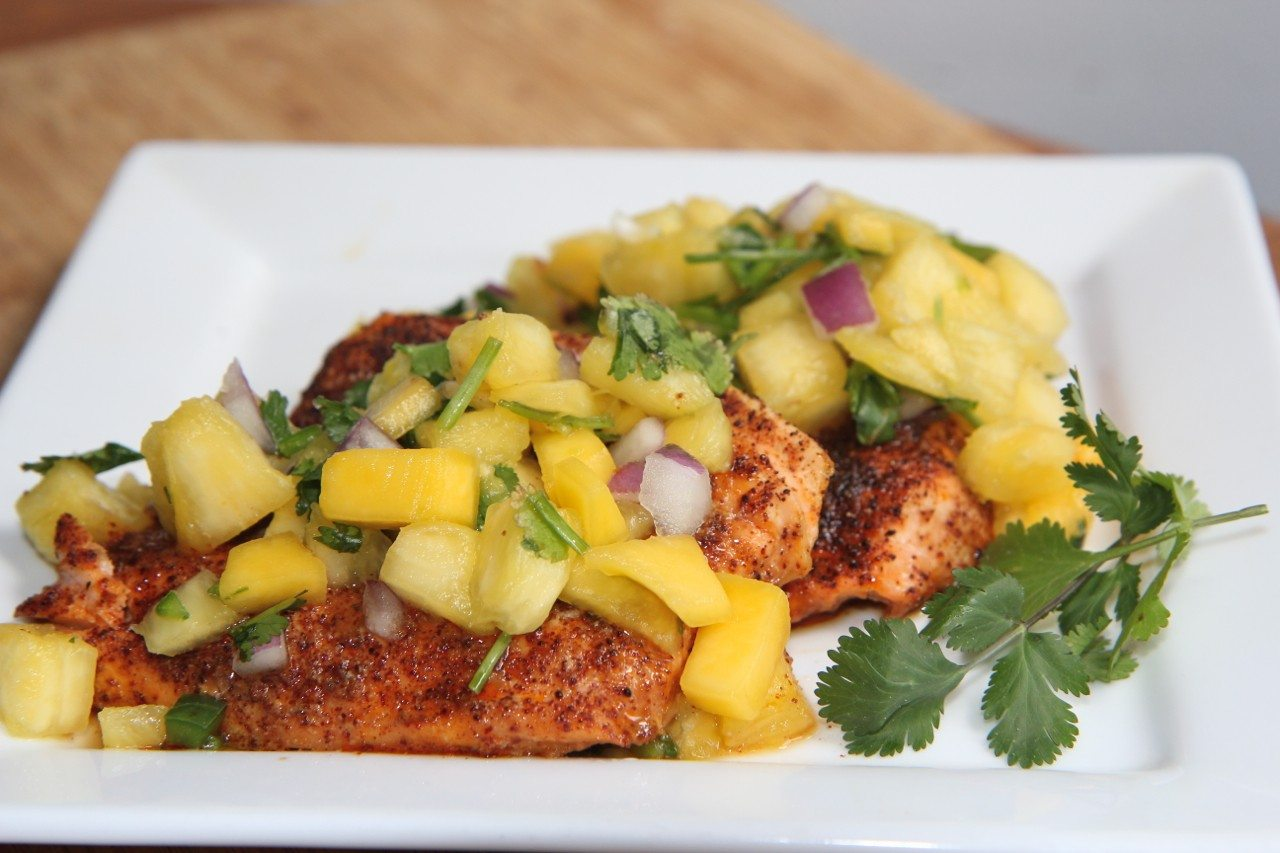 Chili Salmon W Pineapple Mango Salsa Recipe Divas Can Cook