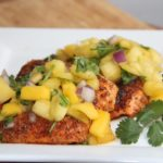 Chili Salmon w/ Pineapple Mango Salsa…So good!
