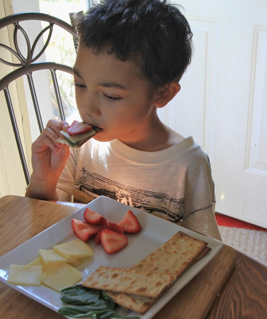Isaac eating cracker barrel cheese