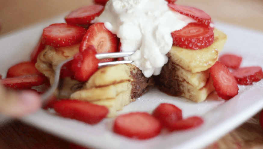 nutella stuffed pancakes recipe strawberries