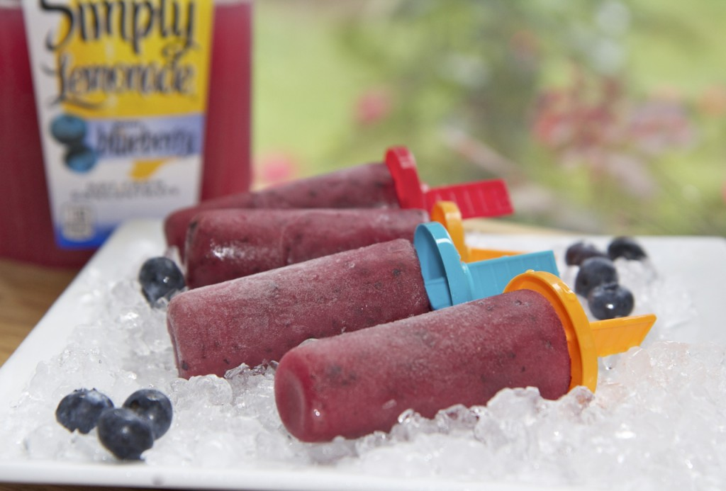simply lemonade with blueberry kiwi popsicles