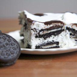 oreo ice box cake cool whip dessert chocolate wafers