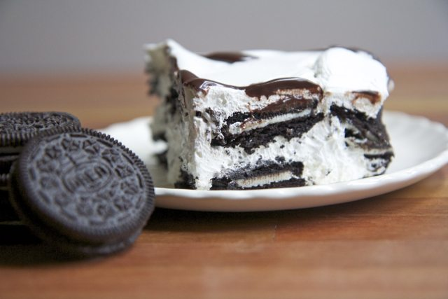 oreo ice box cake cool whip dessert chocolate wafers