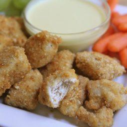 baked homemade chicken nuggets honey mustard dipping sauce recipe