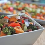 roasted vegetables with bacon