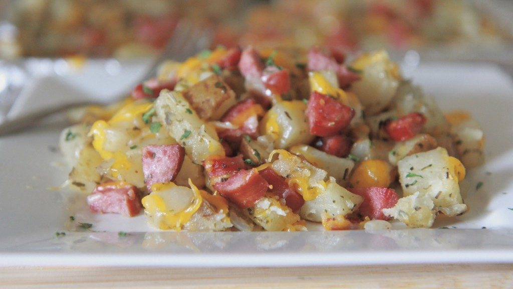 cheesy roasted potatoes and sausage