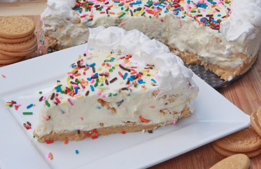 Birthday Cake No Bake Batter Cheesecake Recipe