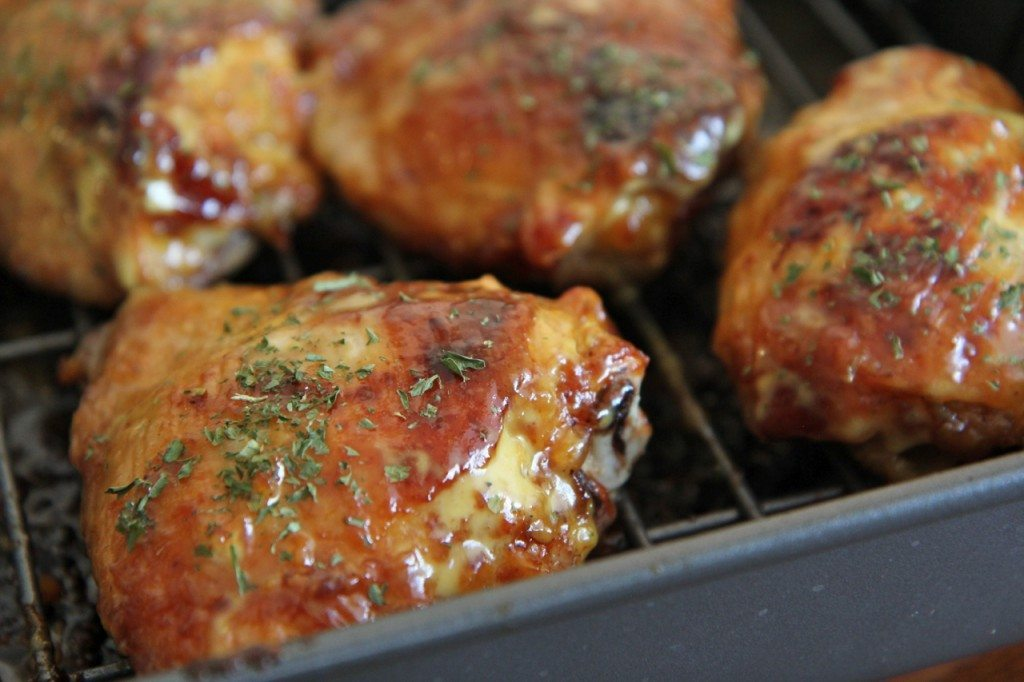 roasted honey mustard BBQ chicken thighs  recipe baked