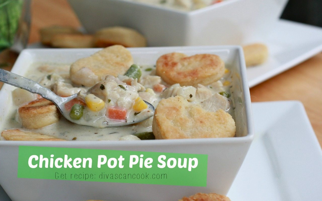 Easy, creamy homemade chicken pot pie soup recipe full of chicken ...