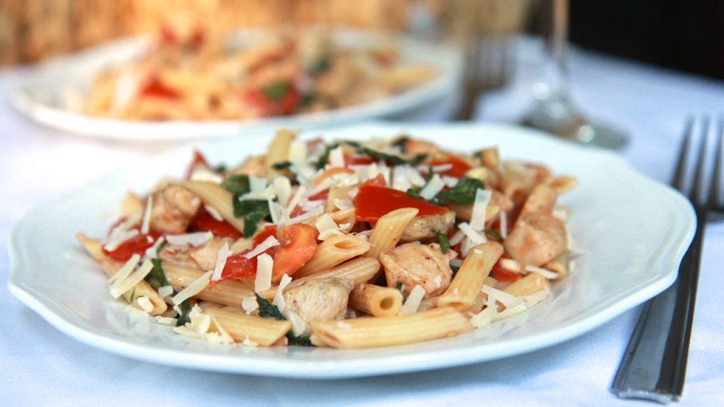 chicken tomato basil pasta salad bruschetta