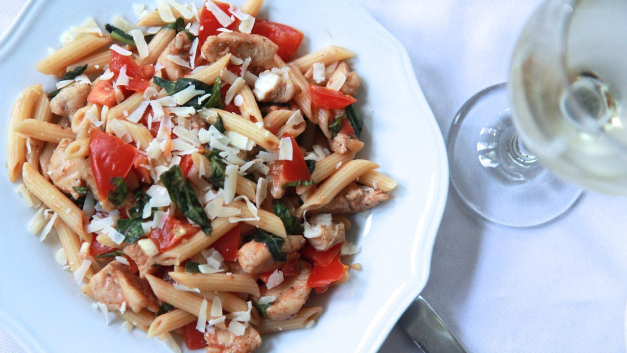Tomato-Basil Pasta Salad w/ Cajun Chicken