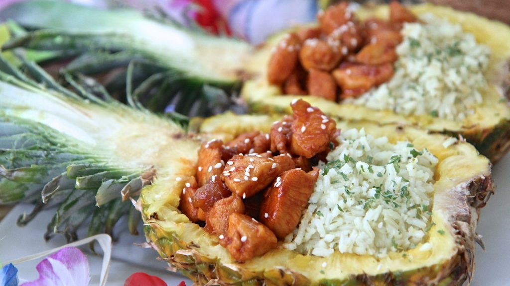 pineapple boats chicken rice recipe