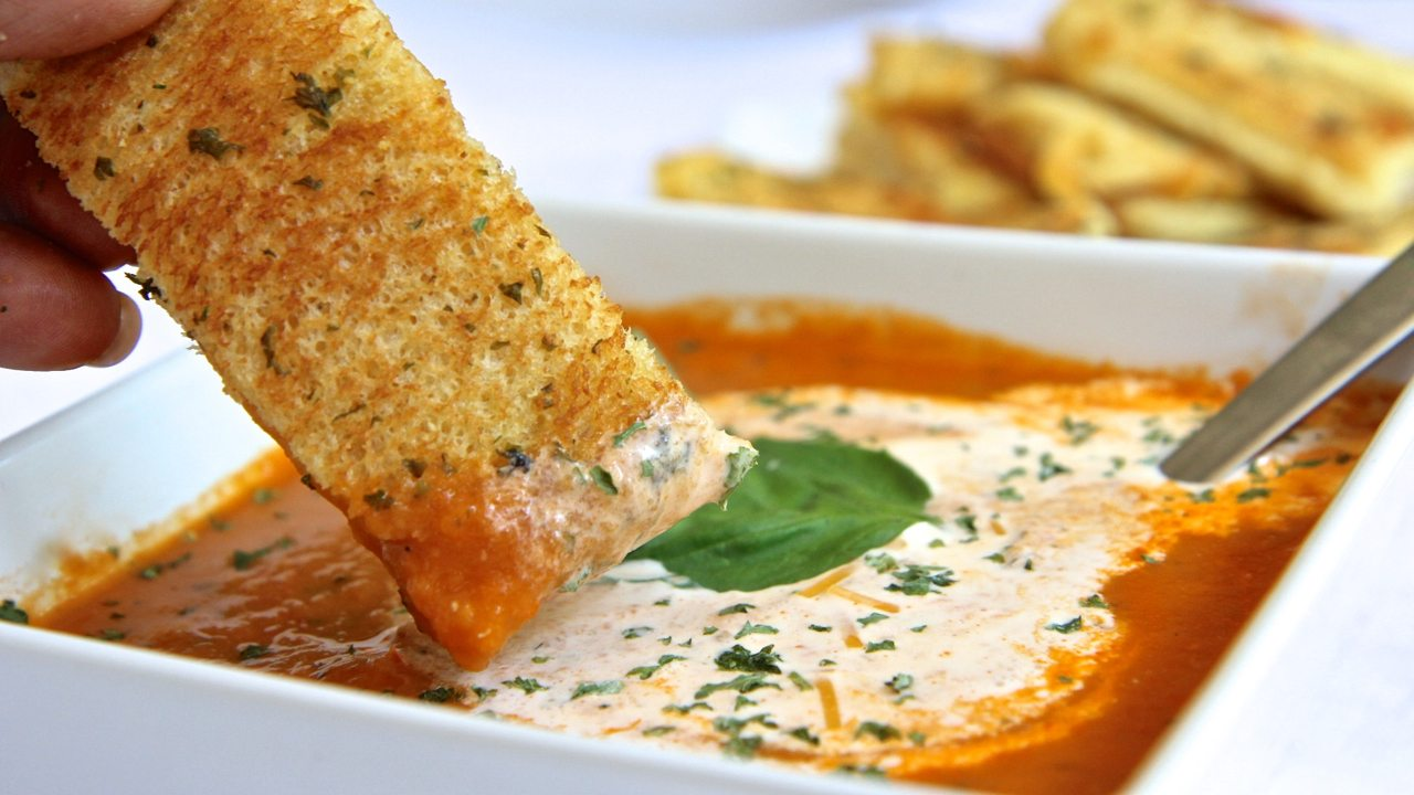 Fresh Roasted Tomato Soup w/ Grilled Cheese Sticks