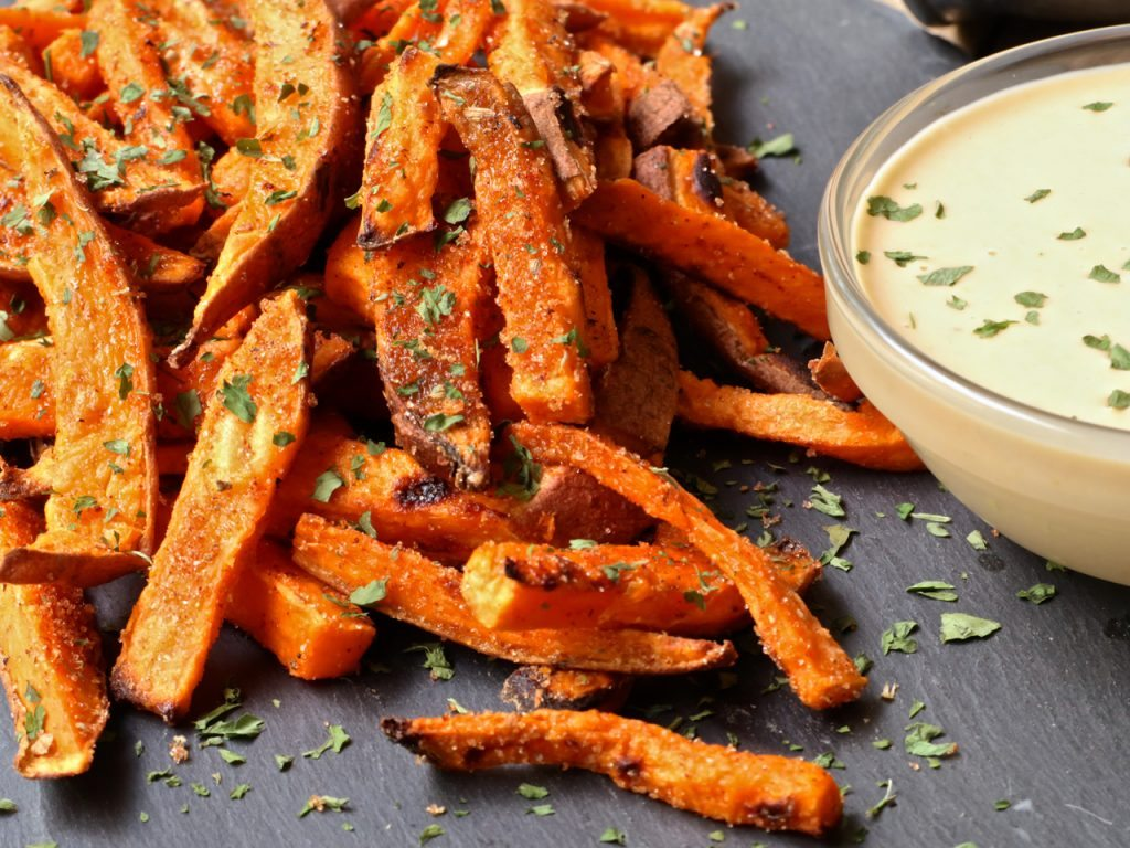 baked sweet potato fries bbq honey mustard - Americas Test Kitchen Baked Potato