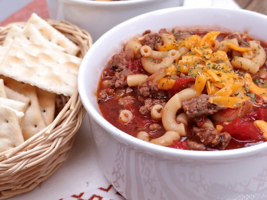 tomato macaroni soup with ground beef