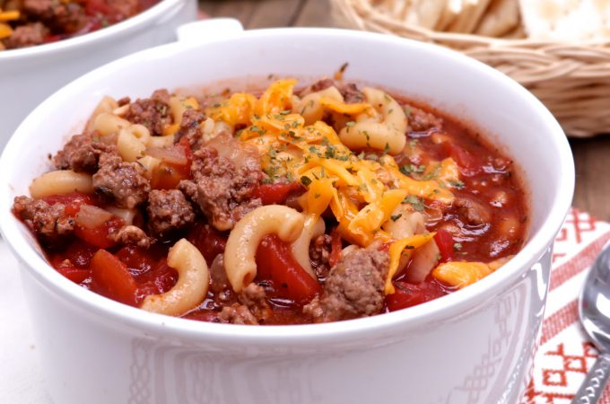 Old Fashioned beef, tomato and macaroni soup