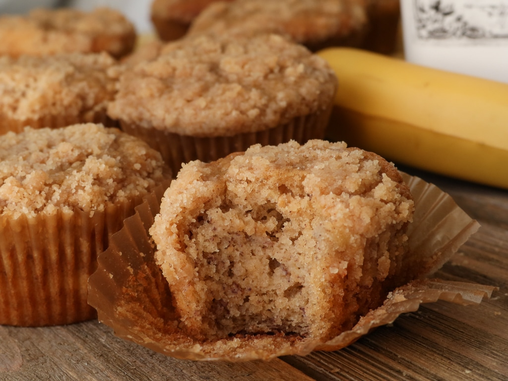 Moist Banana Bread Crumb Muffins