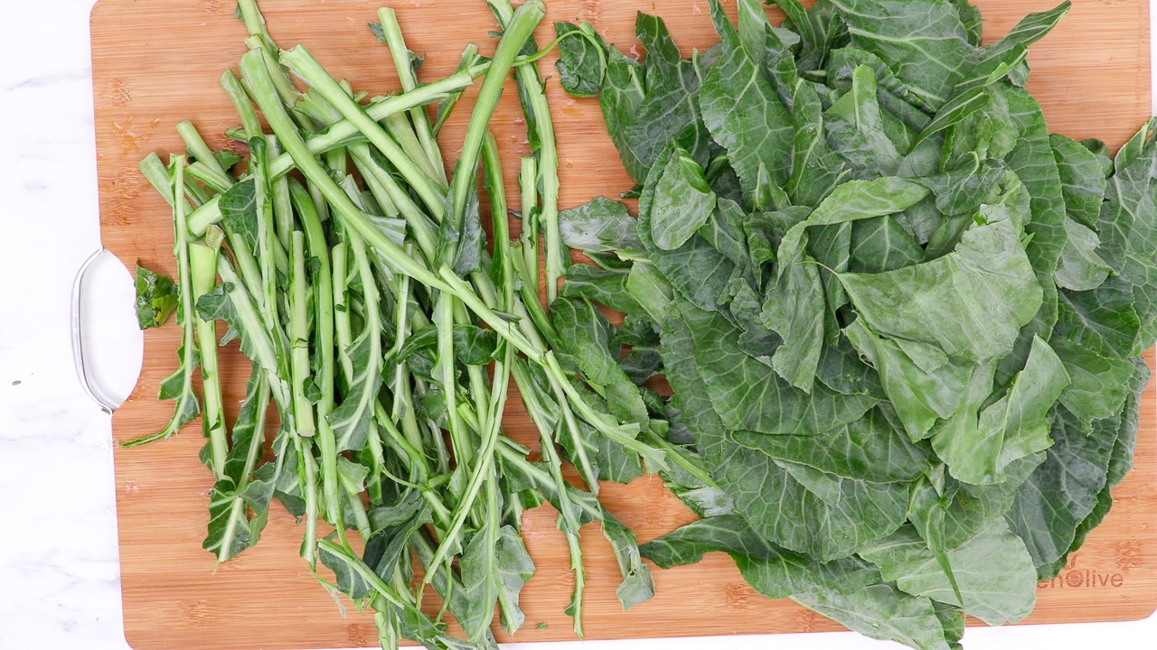 how to remove collard green stems