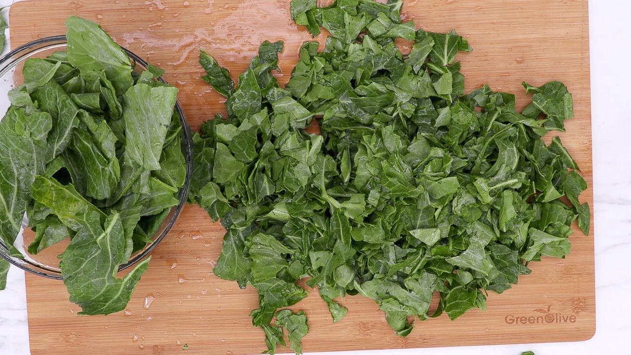 how to cut collard greens