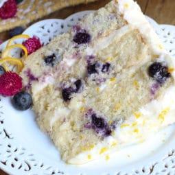 homemade lemon bluebeerry cake